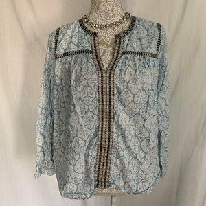 J. Crew // Blue Black Print Embroidery Peasant Top